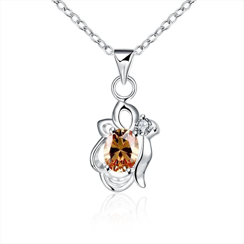 Vienna Jewelry Orange Citrine Blossoming Floral Drop Necklace