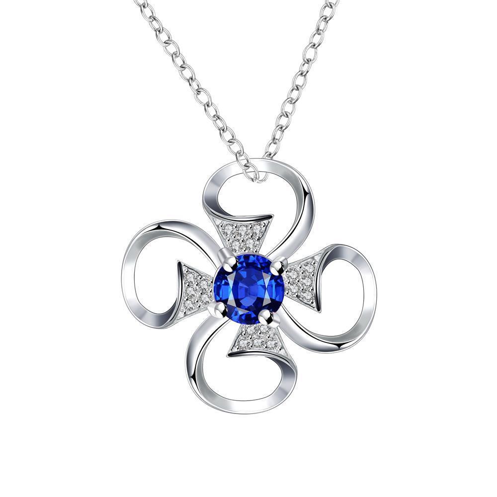 Vienna Jewelry Petite Mock Sapphire Hollow Clover Drop Necklace