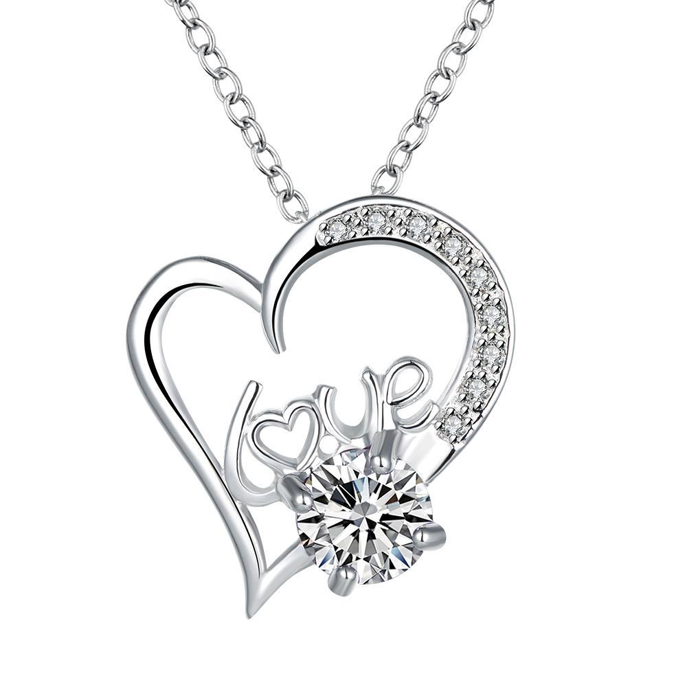 Vienna Jewelry Heart & Love Crystal Stone Drop Necklace