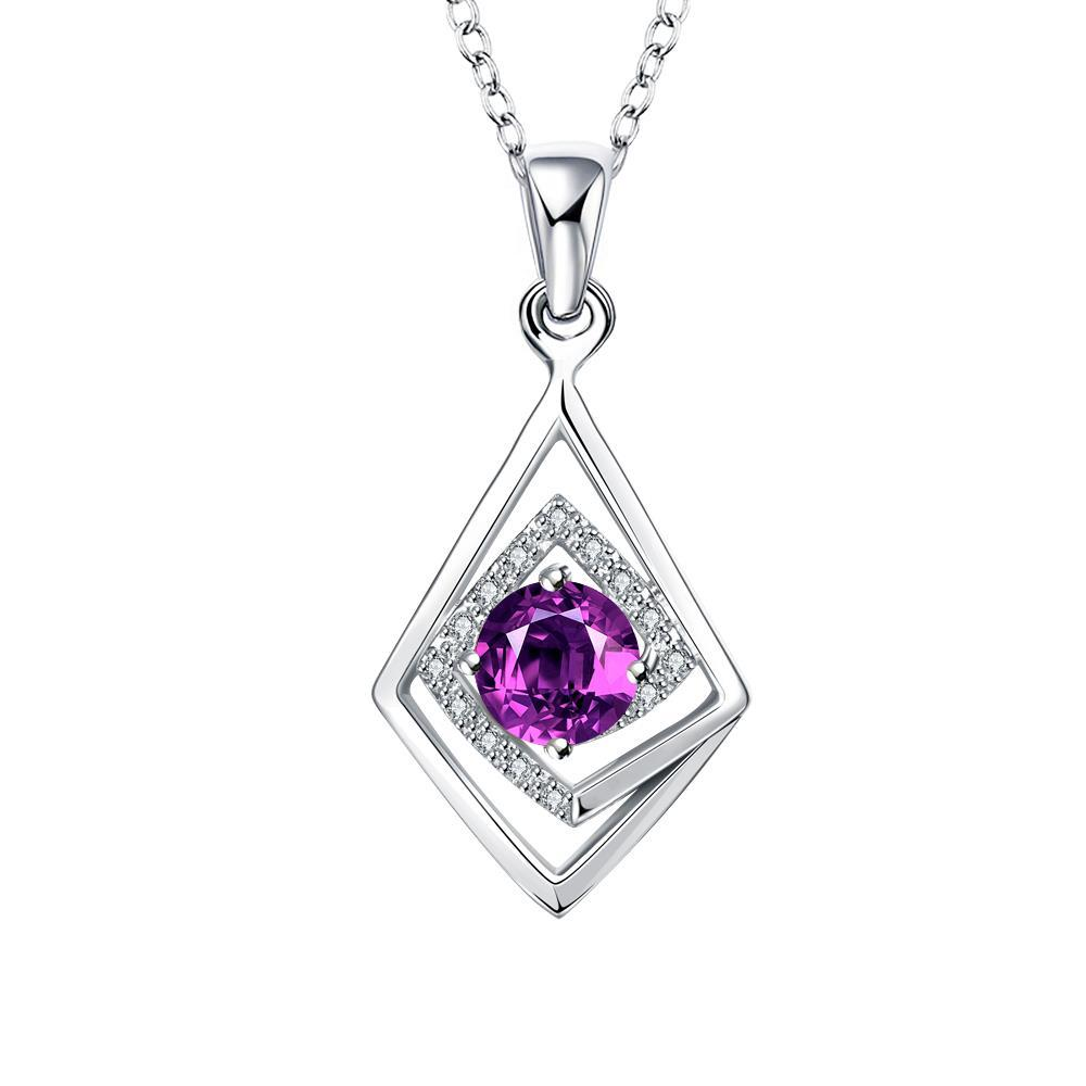 Vienna Jewelry Diamond Shaped Purple Citrine Drop Necklace