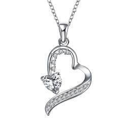 Vienna Jewelry Spiral Cut Hollow Heart Drop Necklace - Thumbnail 0