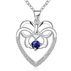 Vienna Jewelry Hollow Spiral Heart Mock Sapphire Gem Drop Necklace - Thumbnail 0