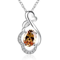 Vienna Jewelry Orange Citrine Infinite Loop Drop Necklace - Thumbnail 0