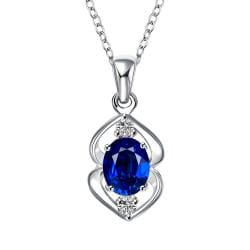 Vienna Jewelry Mock Sapphire Oval Curved Emblem Drop Necklace - Thumbnail 0