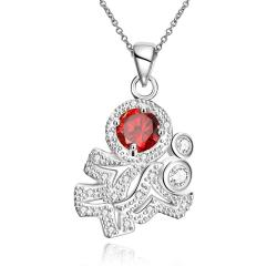 Vienna Jewelry Ruby Red Spiral Classical Emblem Drop Necklace - Thumbnail 0