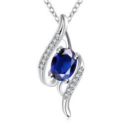 Vienna Jewelry Mock Sapphire Gemstone Spiral Drop Necklace - Thumbnail 0