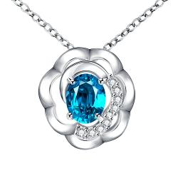 Vienna Jewelry Petite Mock Sapphire Blossoming Clover Drop Necklace - Thumbnail 0