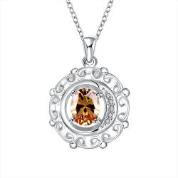Vienna Jewelry Orange Citrine Spiral Pendant Drop Necklace - Thumbnail 0