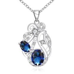 Vienna Jewelry Duo Mock Sapphire Floral Spiral Pendant Drop Necklace - Thumbnail 0