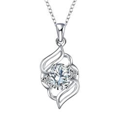 Vienna Jewelry Curved Abstract Petite Crystal Stone Pendant Necklace - Thumbnail 0