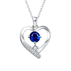 Vienna Jewelry Tiffany Inspired Mock Sapphire Hollow Hearts Necklace - Thumbnail 0