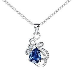 Vienna Jewelry Mock Sapphire Curved Intertwined Drop Necklace - Thumbnail 0