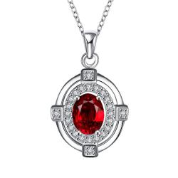 Vienna Jewelry Ruby Red Crystal Pendant Drop Necklace - Thumbnail 0