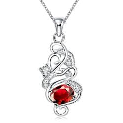 Vienna Jewelry Spiral Ruby Red Emblem Drop Necklace - Thumbnail 0
