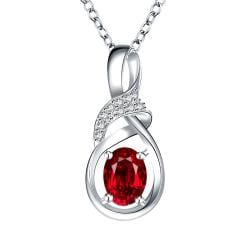 Vienna Jewelry Ruby Red Curved Emblem Drop Necklace - Thumbnail 0