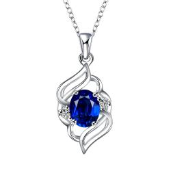 Vienna Jewelry Curved Abstract Petite Sapphire Pendant Necklace - Thumbnail 0