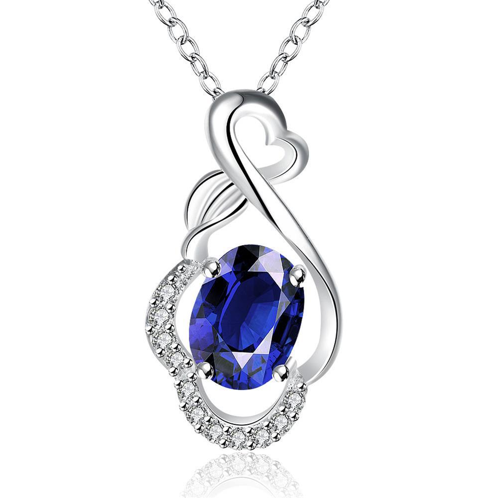 Vienna Jewelry Mock Sapphire Infinite Loop Drop Necklace