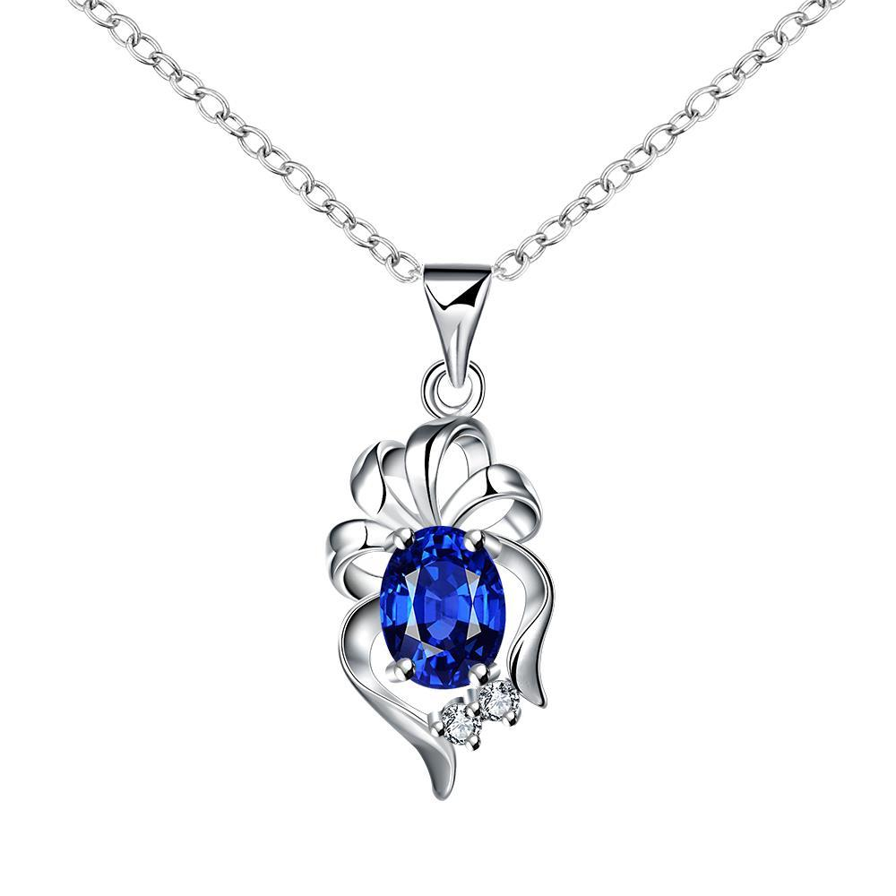 Vienna Jewelry Dangling Sapphire Floral Petal Drop Necklace
