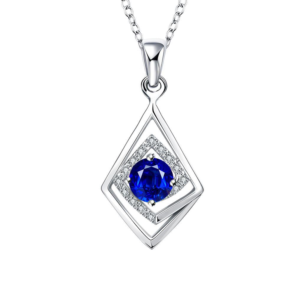Vienna Jewelry Diamond Shaped Mock Sapphire Drop Necklace