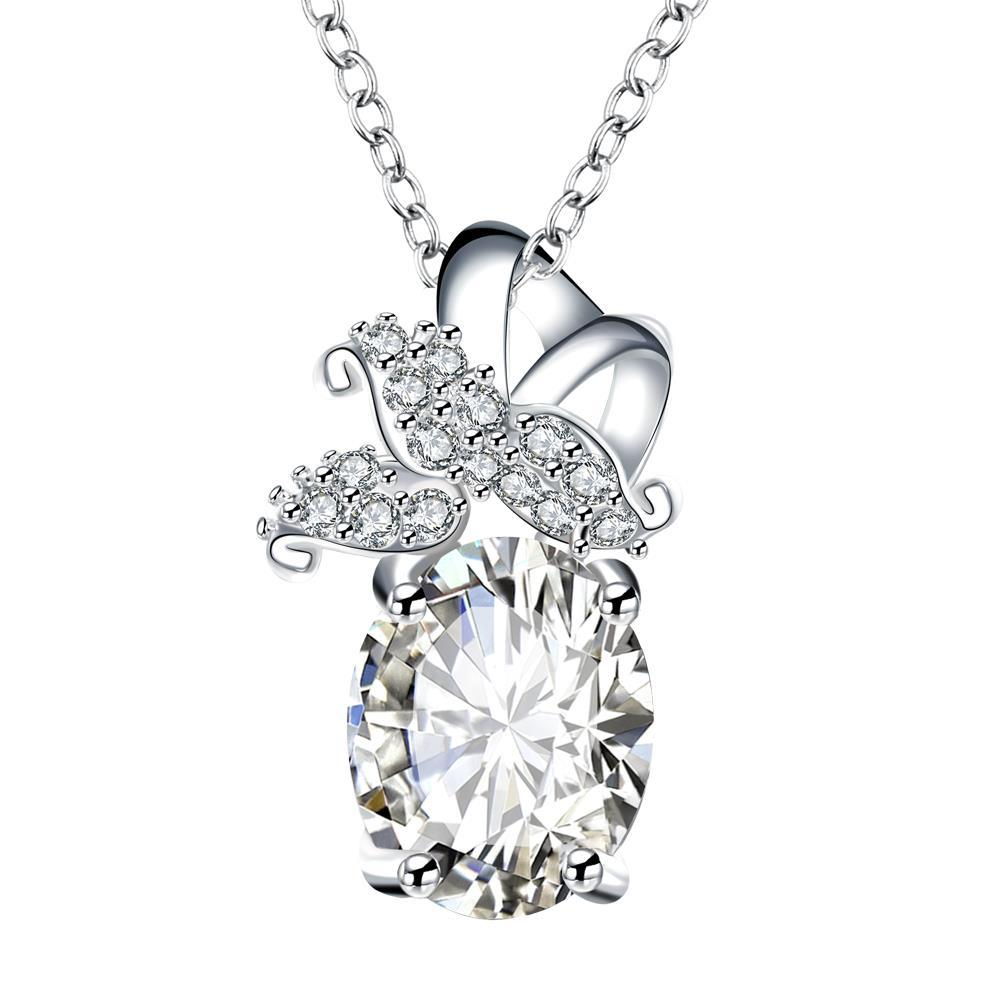 Vienna Jewelry Crystal Stone Dangling Butterfly Drop Necklace