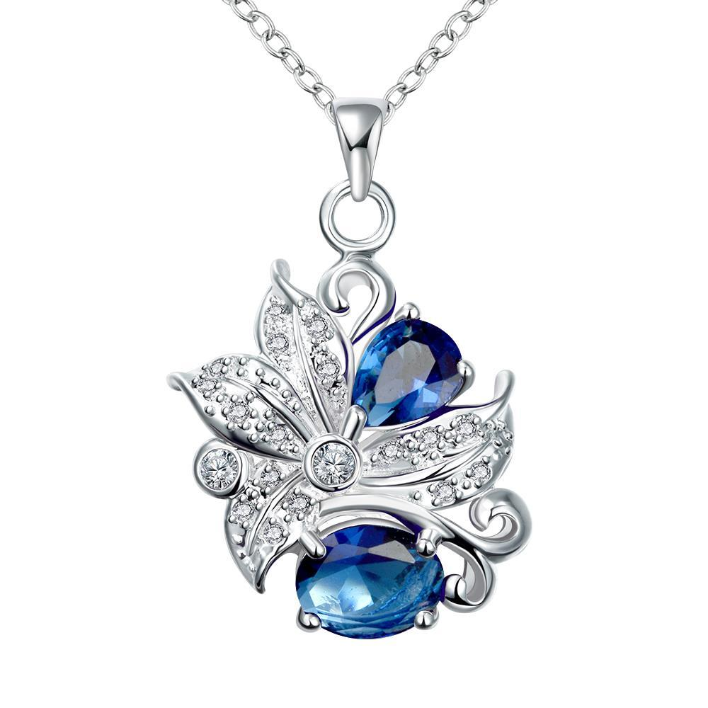Vienna Jewelry Duo-Sapphire Gem Floral Pendant Necklace