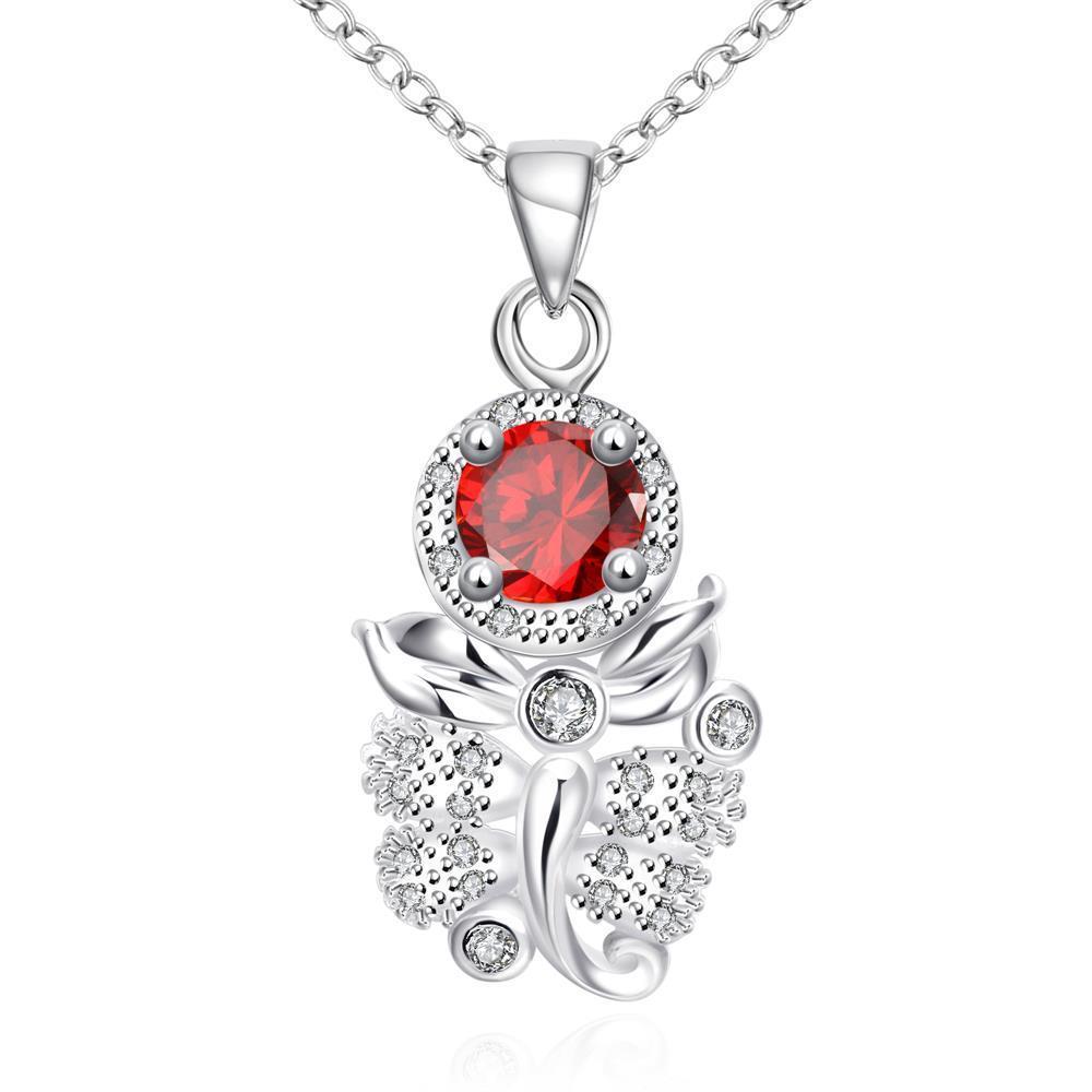 Vienna Jewelry Ruby Red Grape Vine Drop Necklace