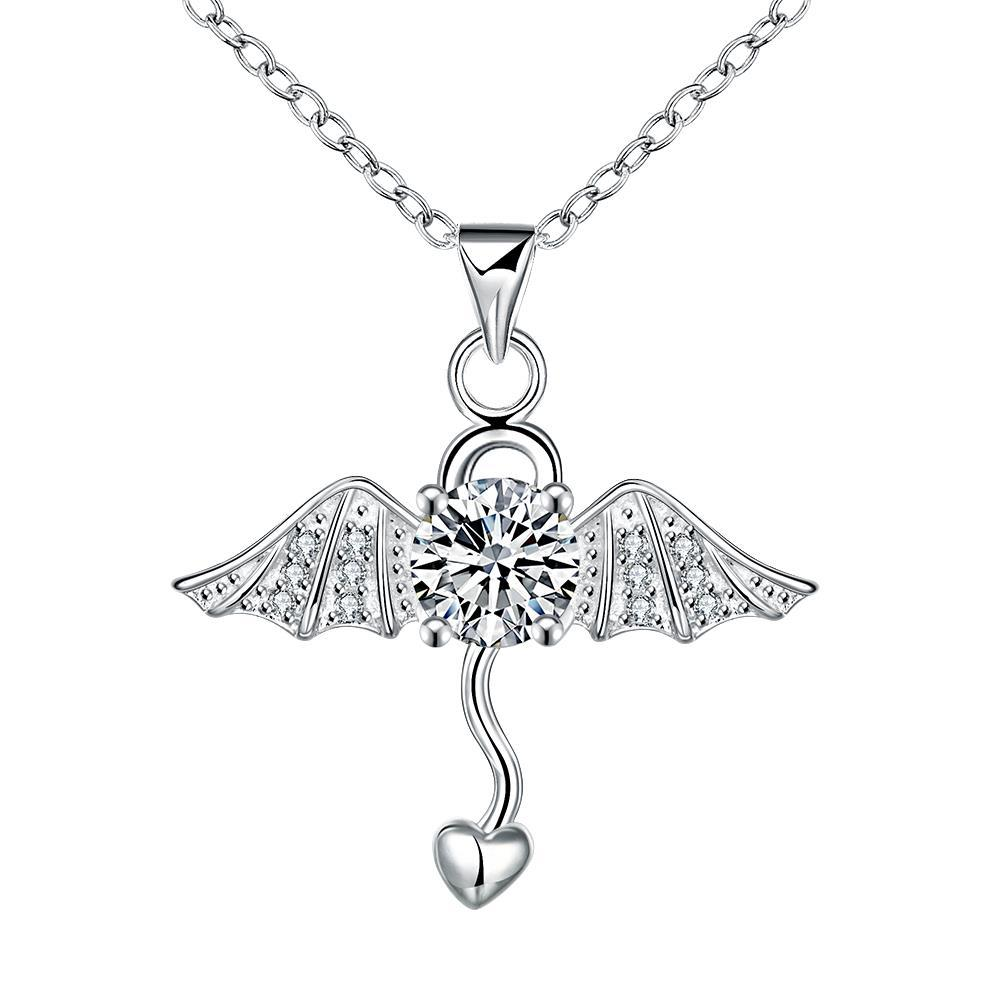Vienna Jewelry Dangling Heart Angel's Wing Emblem Necklace