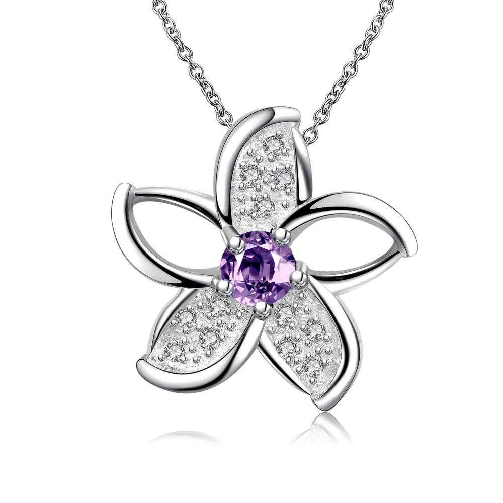 Vienna Jewelry Mock Purple Citrine Spiral Floral Emblem Necklace - Thumbnail 0