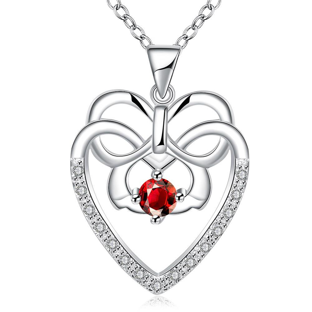 Vienna Jewelry Hollow Spiral Heart Ruby Red Gem Drop Necklace