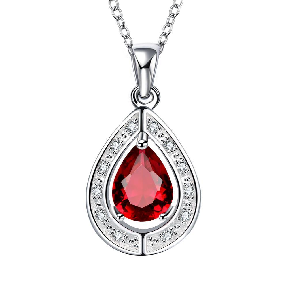 Vienna Jewelry Ruby Red Triangular Pendant Drop Necklace
