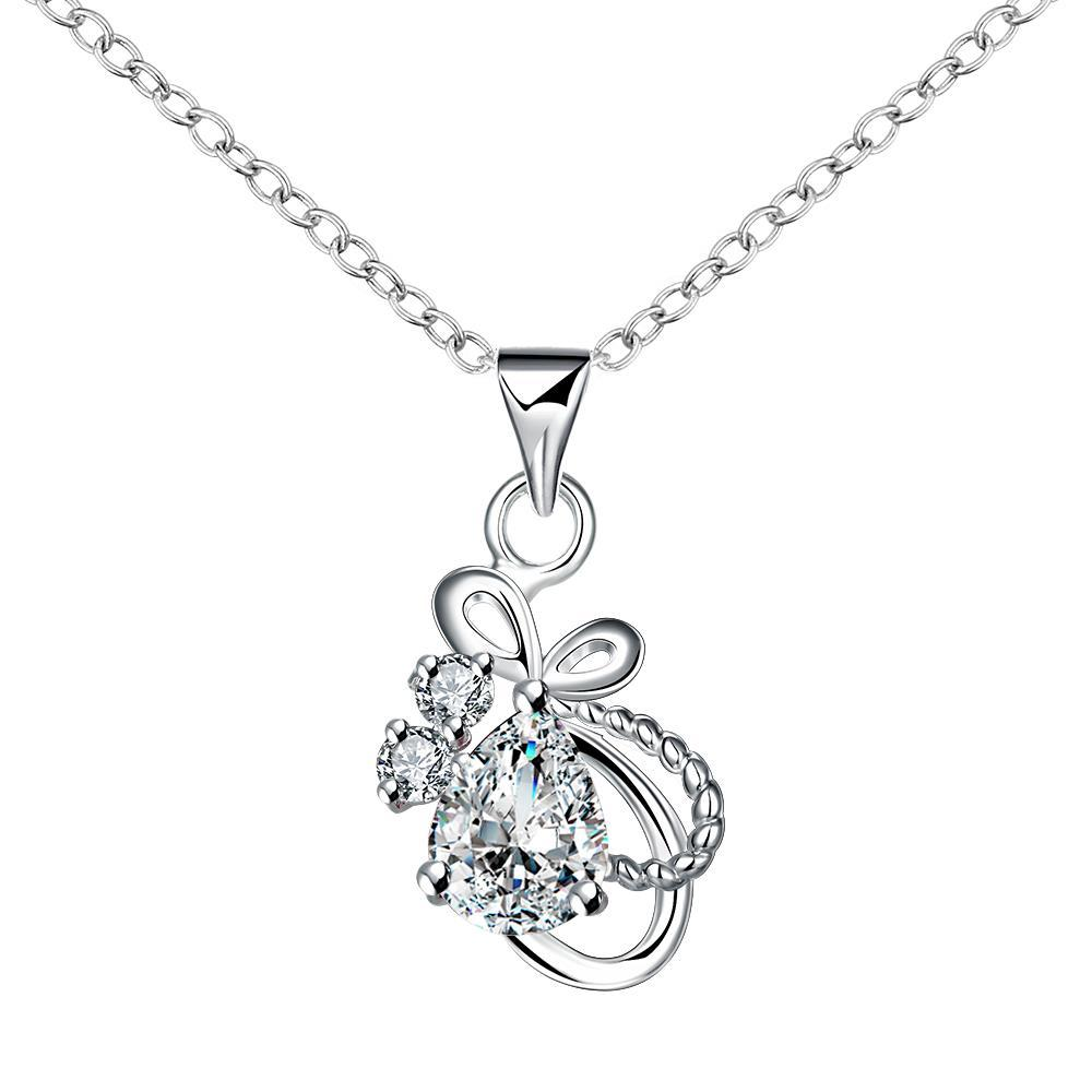 Vienna Jewelry Mock Crystal Stone Curved Intertwined Drop Necklace