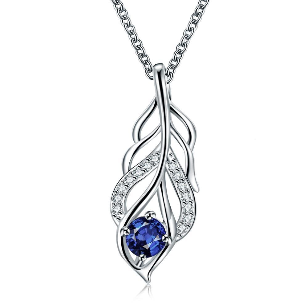 Vienna Jewelry Mock Sapphire Dangling Leaf Branch Necklace