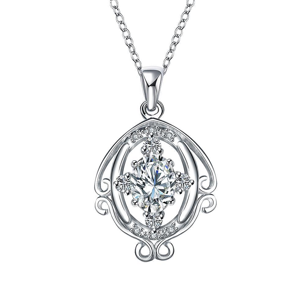 Vienna Jewelry Crystal Jewels Blossoming Spiral Jewels Drop Necklace
