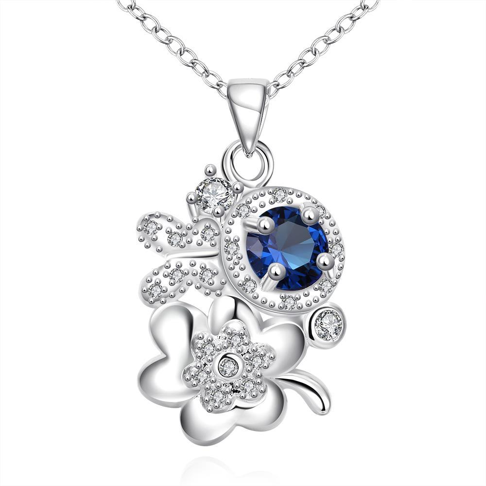 Vienna Jewelry Mock Sapphire Orchid Cluster Drop Necklace