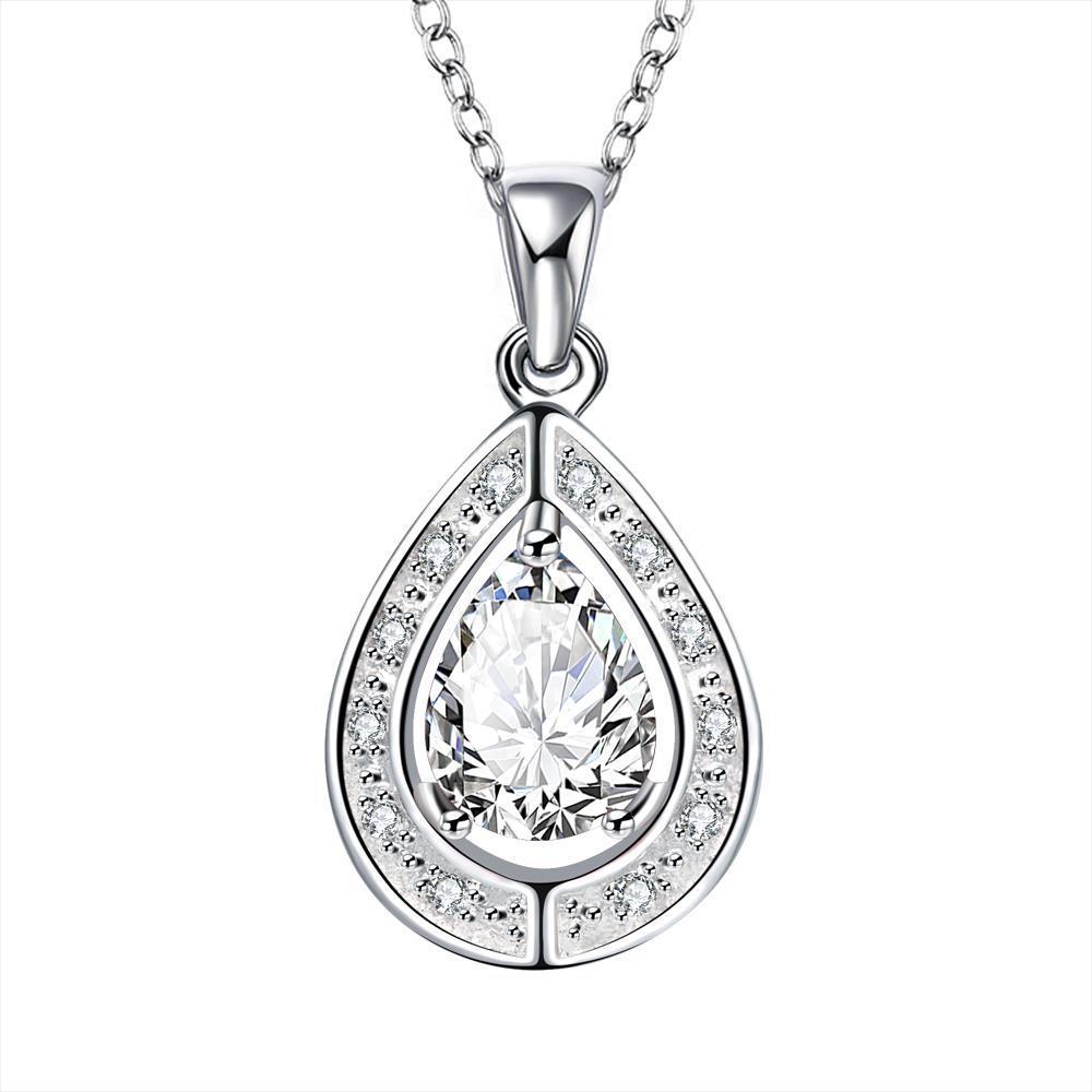 Vienna Jewelry Crystal Stone Triangular Pendant Drop Necklace