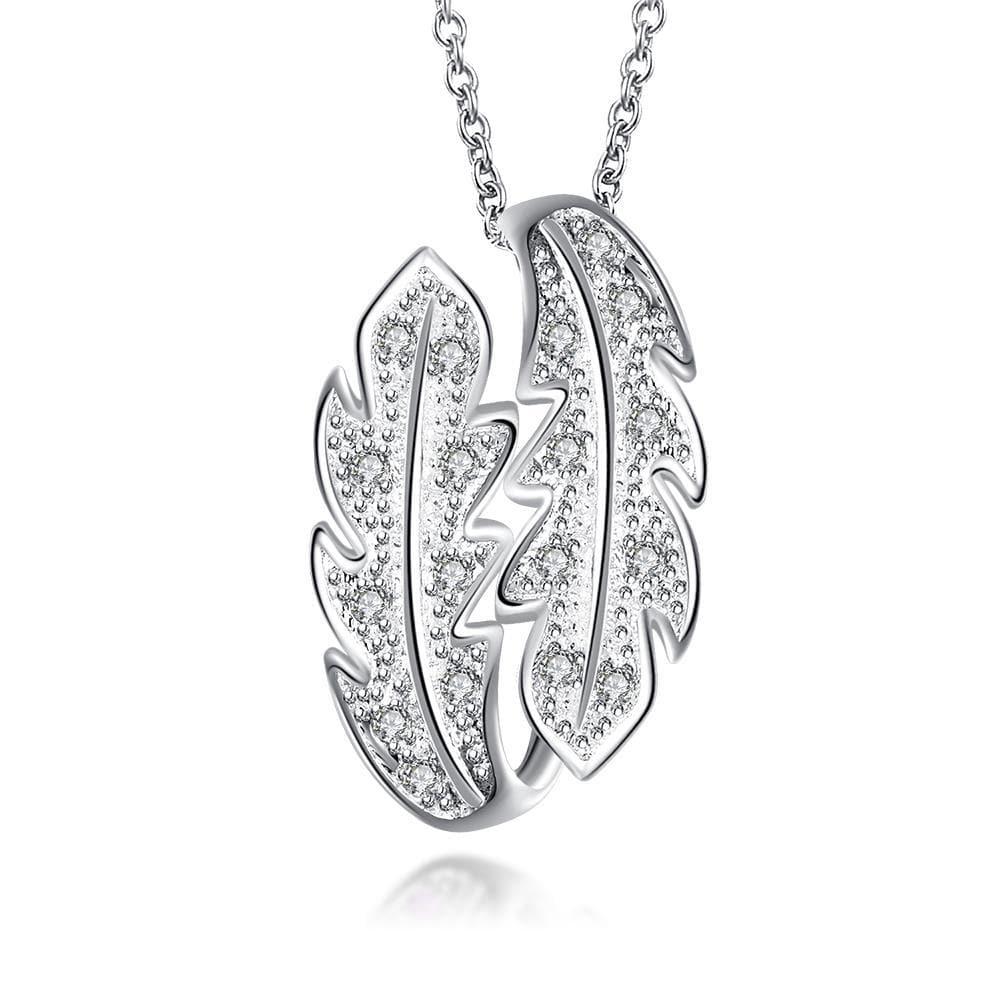 Vienna Jewelry Mock Crystal Jewels Duo-Leaf Drop Necklace