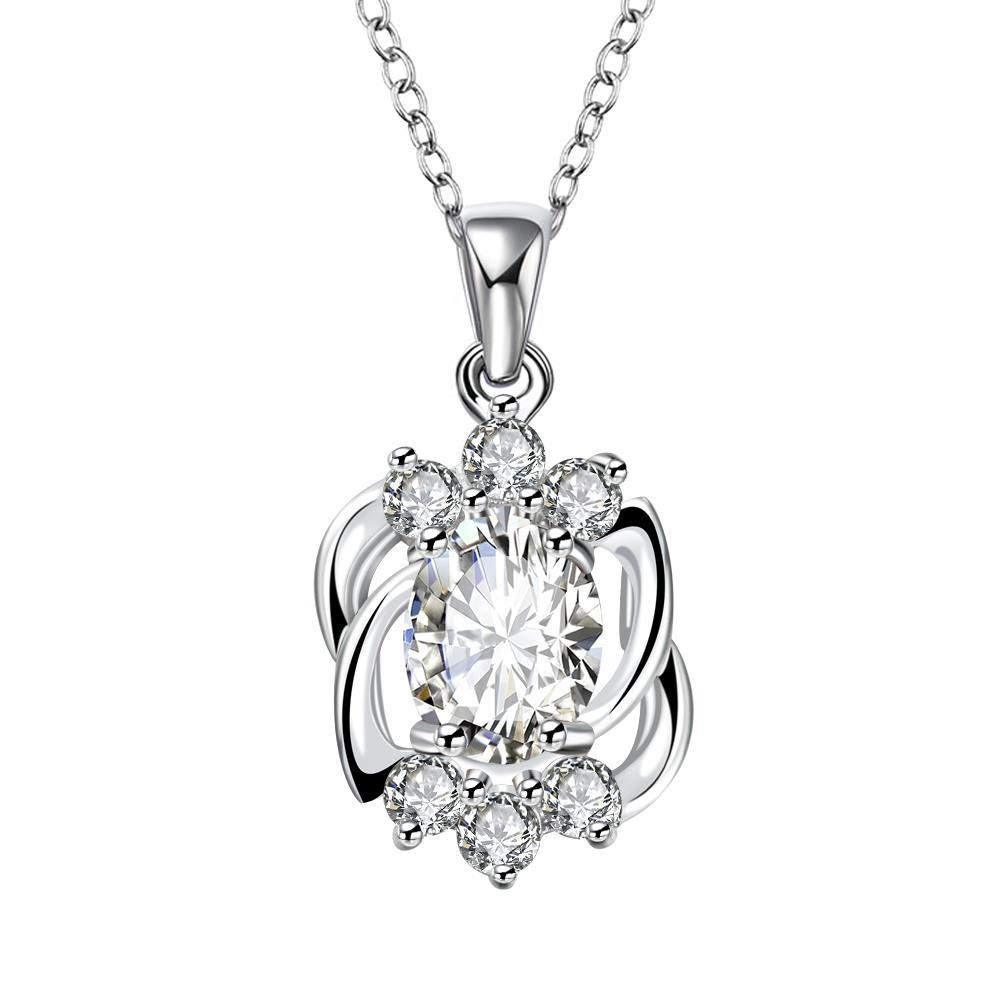 Vienna Jewelry Blossoming Crystal Pendant Dangling Necklace