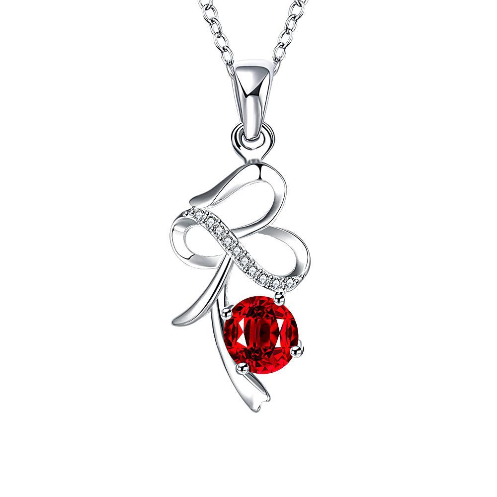 Vienna Jewelry Spiral Curved Lining Ruby Red Drop Necklace