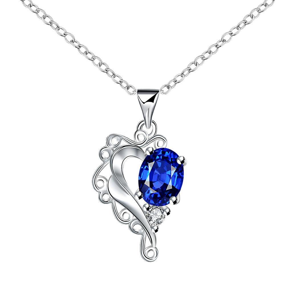 Vienna Jewelry Blossoming Sapphire Heart Shaped Drop Necklace