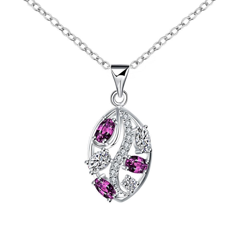 Vienna Jewelry Trio-Purple Citrine Jewels Crystal Lining Drop Necklace