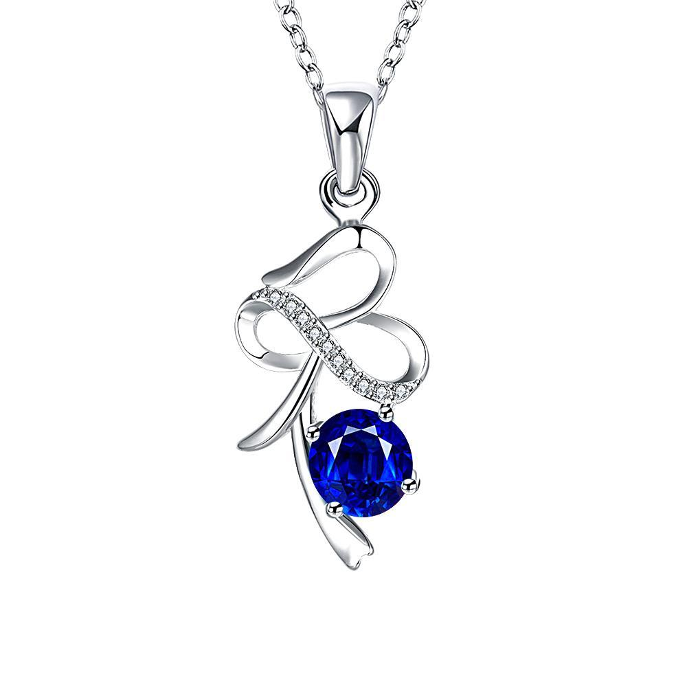 Vienna Jewelry Spiral Curved Lining Mock Sapphire Drop Necklace