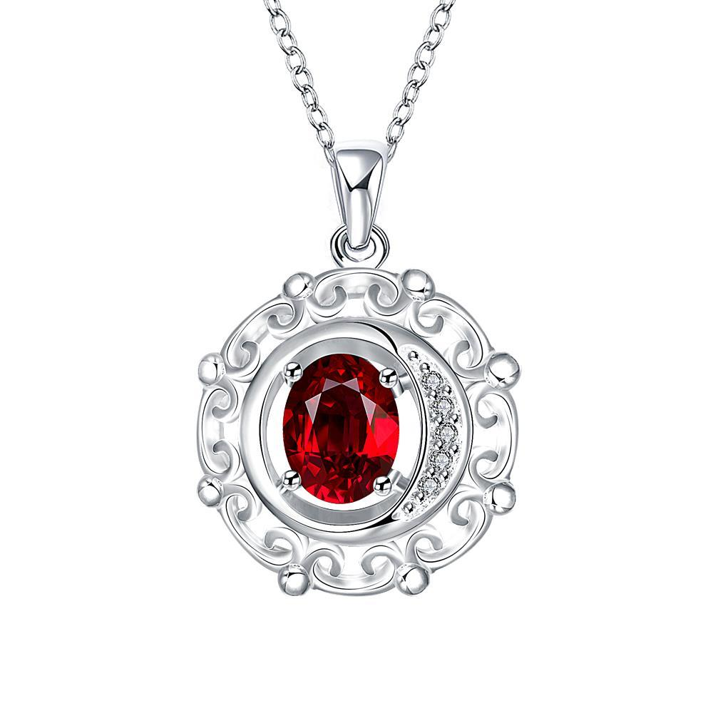 Vienna Jewelry Ruby Red Spiral Pendant Drop Necklace