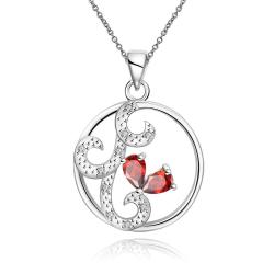 Vienna Jewelry Ruby Red Swirl Design Pendant Drop Necklace - Thumbnail 0