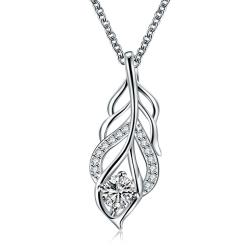Vienna Jewelry Crystal Stone Dangling Leaf Branch Necklace - Thumbnail 0