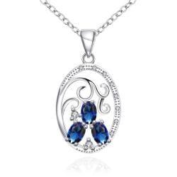Vienna Jewelry Trio-Mock Sapphire Circular Pendant Drop Necklace - Thumbnail 0