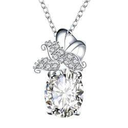 Vienna Jewelry Crystal Stone Dangling Butterfly Drop Necklace - Thumbnail 0