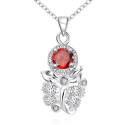 Vienna Jewelry Ruby Red Grape Vine Drop Necklace - Thumbnail 0
