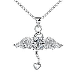 Vienna Jewelry Dangling Heart Angel's Wing Emblem Necklace - Thumbnail 0