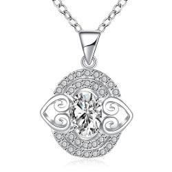 Vienna Jewelry Petite Crystal Stone Gem Circular Drop Necklace - Thumbnail 0