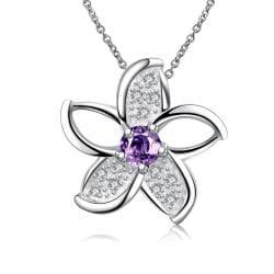 Vienna Jewelry Mock Purple Citrine Spiral Floral Emblem Necklace - Thumbnail 0